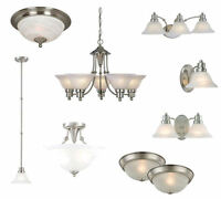Satin Nickel Ceiling Lights, Bathroom Vanity,& Chandelier Lighting Fixtures