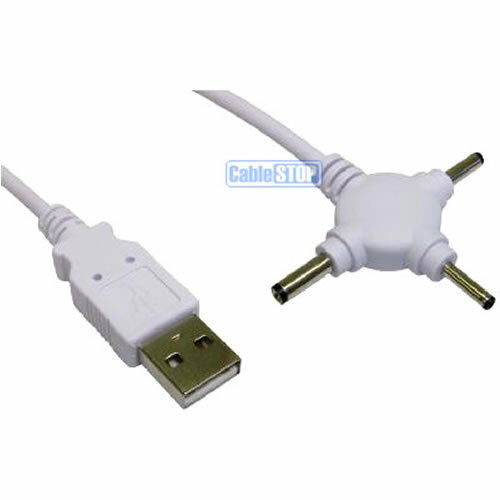 Pc Laptop Usb To 3 Way Dc Jack Power Cable Charger Mini 2