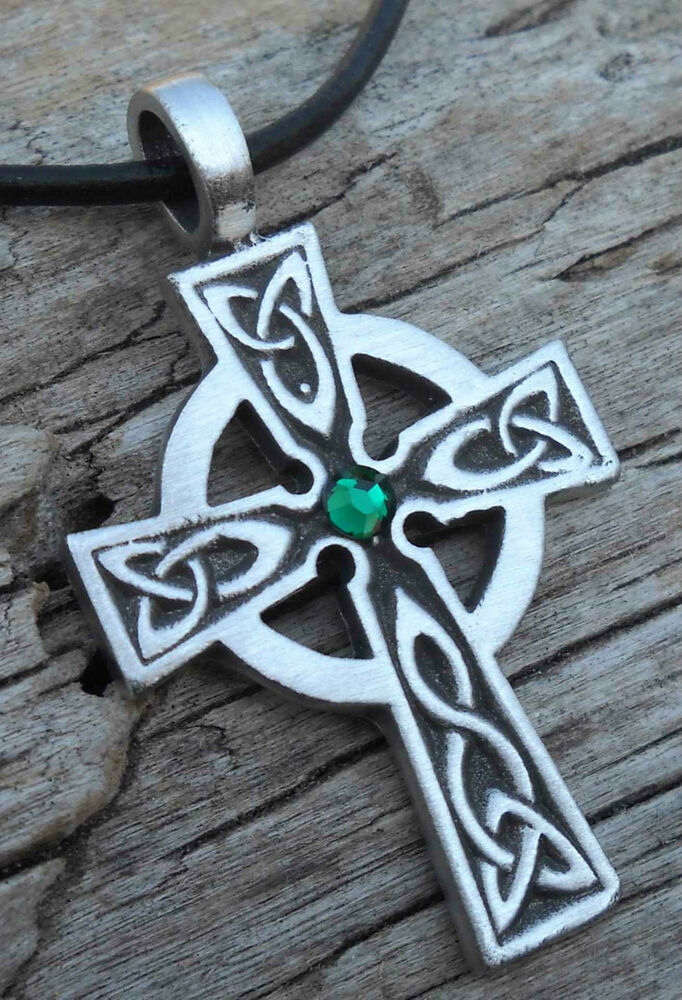 Pewter Wales Celtic Cross Irish Emerald Green Crystal May