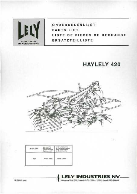 Lely Haylely 420 Tedder Parts Manual