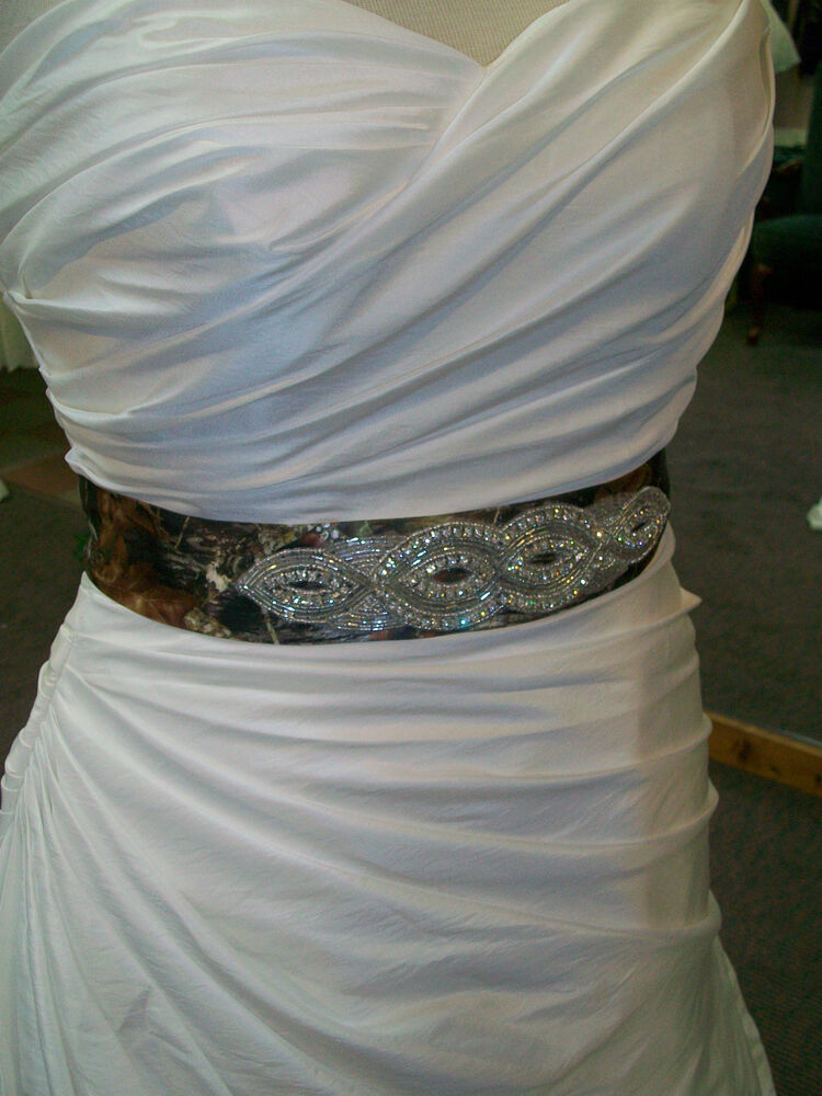 Satin camo beaded wedding bridesmaid prom bridal sash ebay for Wedding dress belt sash