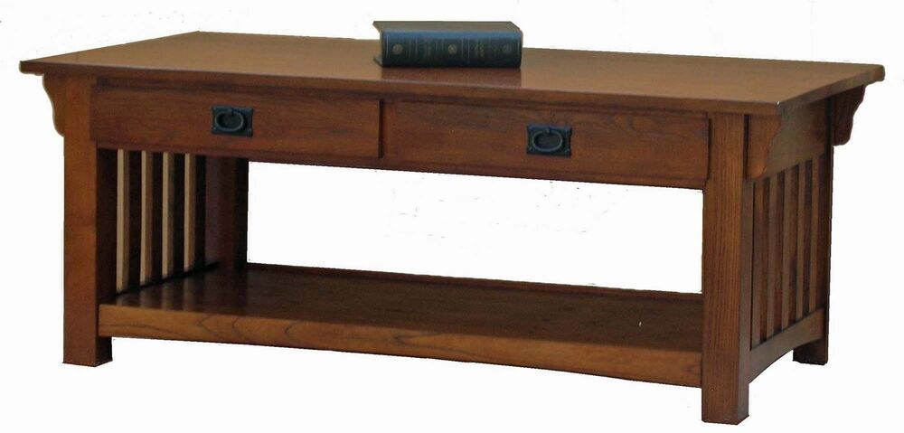New Mission Coffee Table Drawers Shelf Medium Oak Ebay