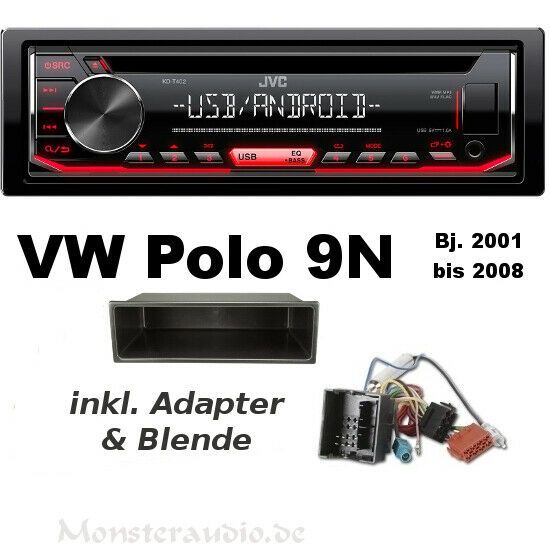 jvc autoradio vw polo 4 9 n fox lupo cd mp3 usb aux in. Black Bedroom Furniture Sets. Home Design Ideas
