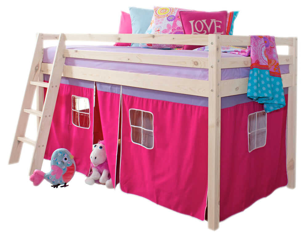 Cabin Bed Mid Sleeper Wooden Pine Bunk Bed with Mattress ...