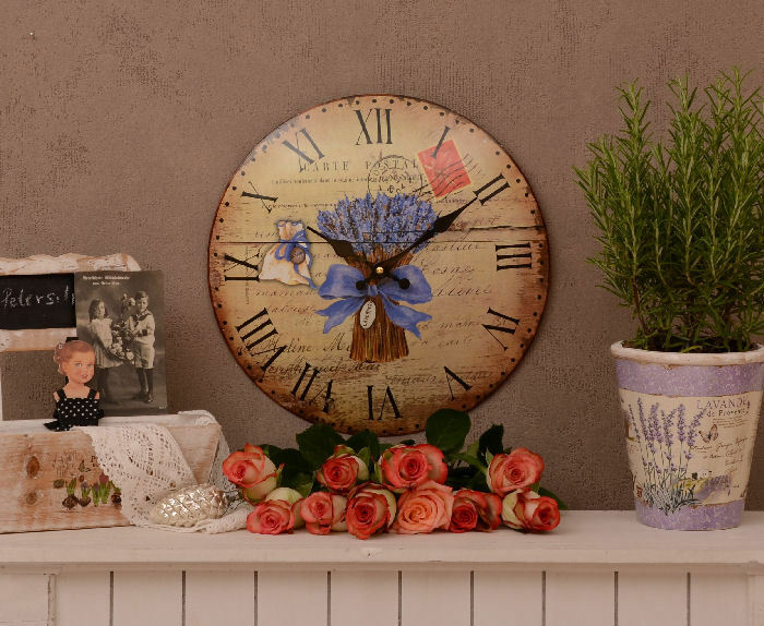 lavendel k chenuhr shabby chic uhr antik wanduhr vintage ebay. Black Bedroom Furniture Sets. Home Design Ideas