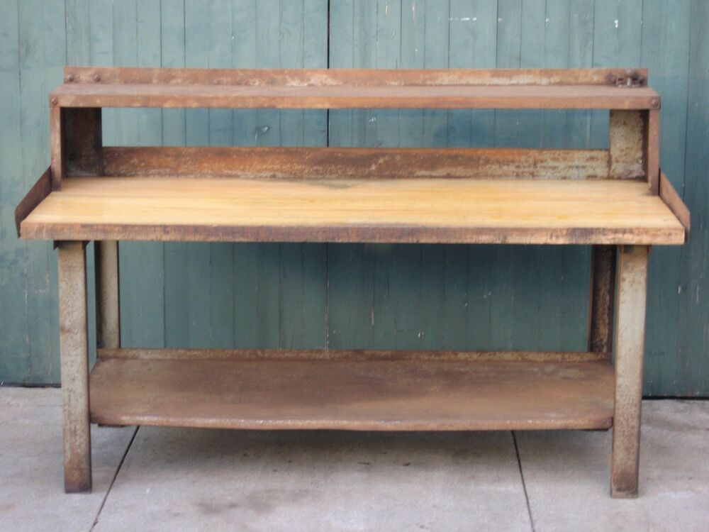 Work Bench Table Tool Shop Utility Steel Wood Top Heavy Duty Shelf 72 X 31 X 46 Ebay