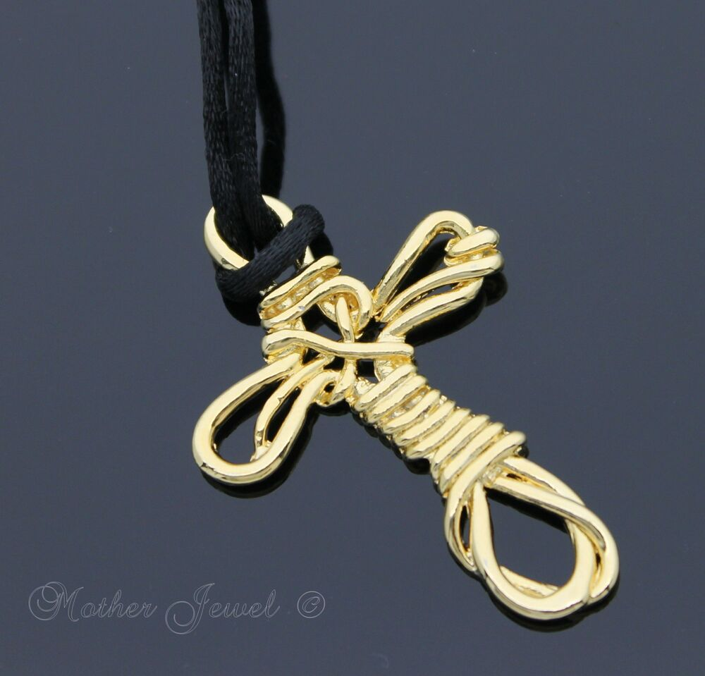 18k yellow gold gp black silk long 80cm chain cross for Black and blue jewelry cross necklace
