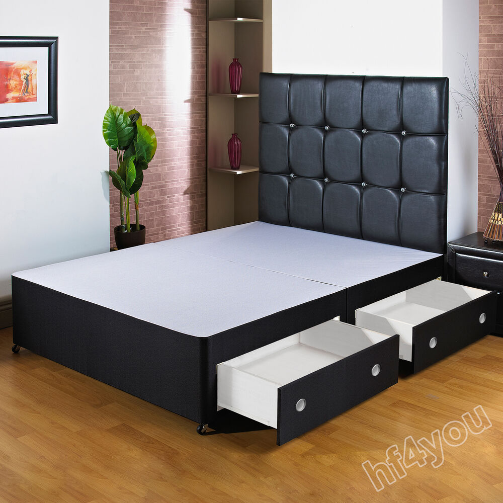 Hf4you black upholstered divan bed base headboard drawer for Single divan bed with storage drawers