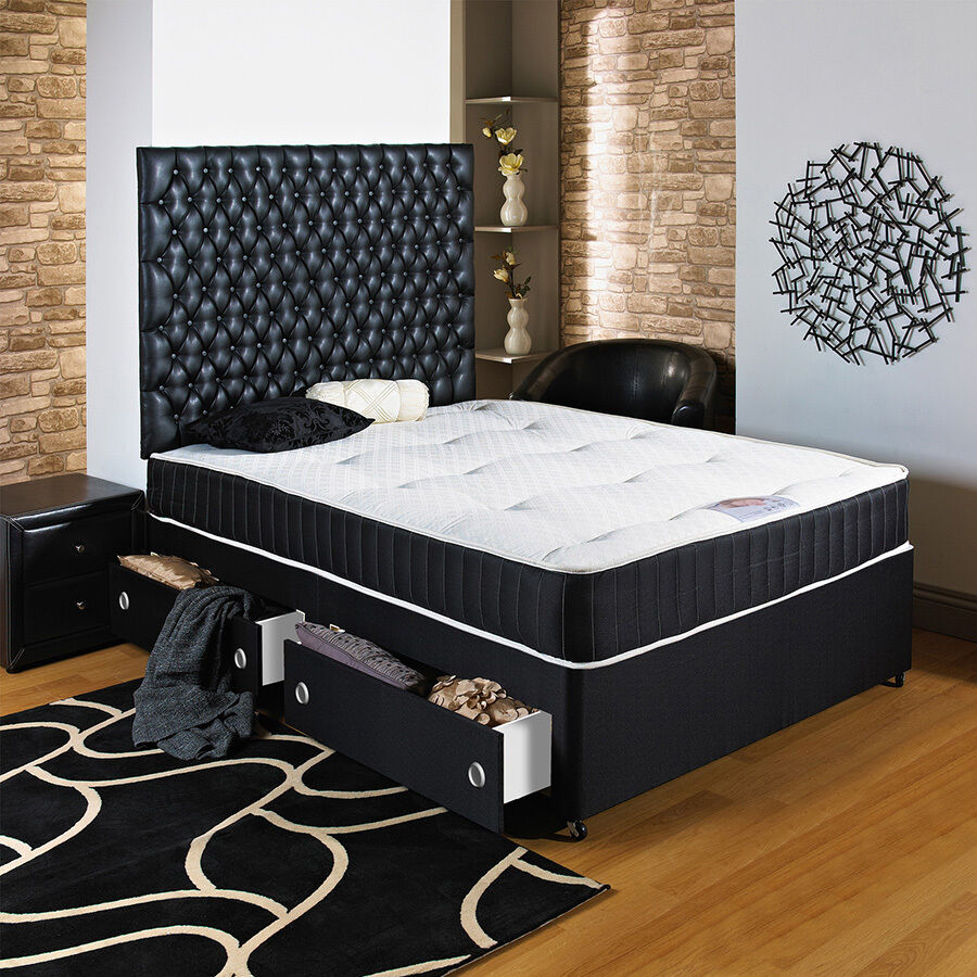 4ft 6 double black divan bed ortho mattress headboard drawers free delivery ebay Divan double bed with mattress