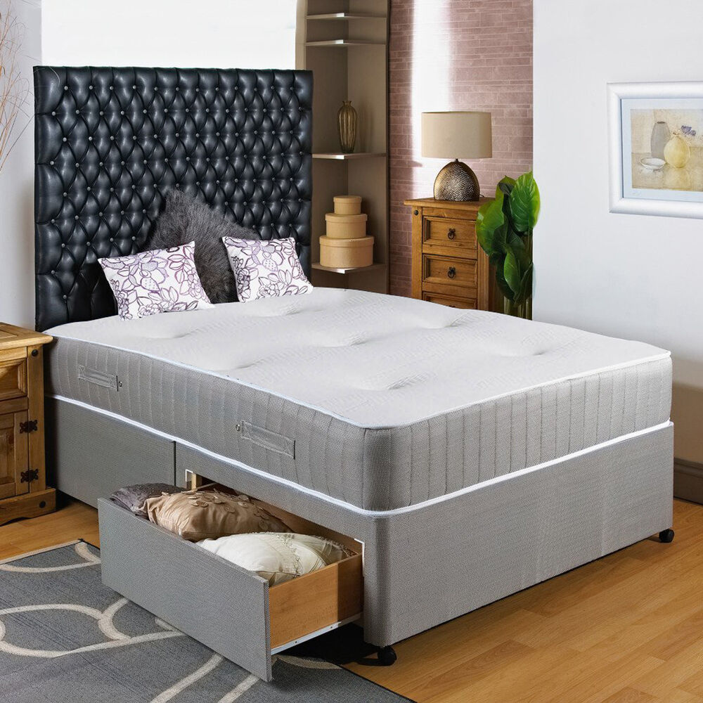 New 4ft small double divan bed visco 10 memory foam for Single divan with drawers and headboard