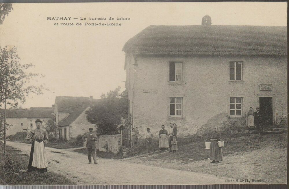 B3382 25 carte postale ancienne cpa mathay bureau de tabac for Buro de tabac