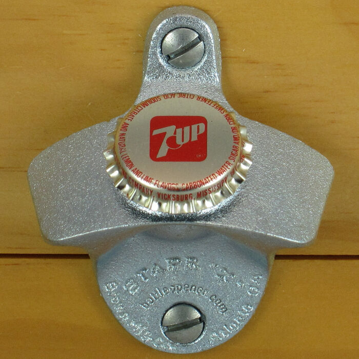 7up seven up bottle cap starr x wall mount stationary bottle opener metal new ebay. Black Bedroom Furniture Sets. Home Design Ideas