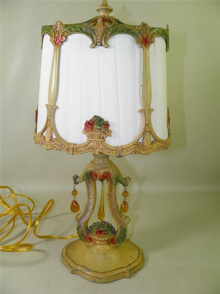 Vintage Table Lamps With Flowers : Antique art deco metal spelter table boudoir lamp hand