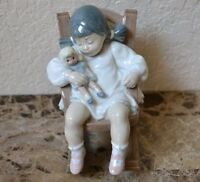 Retired Lladro Nap Time Girl Rocking Chair Mint 5448