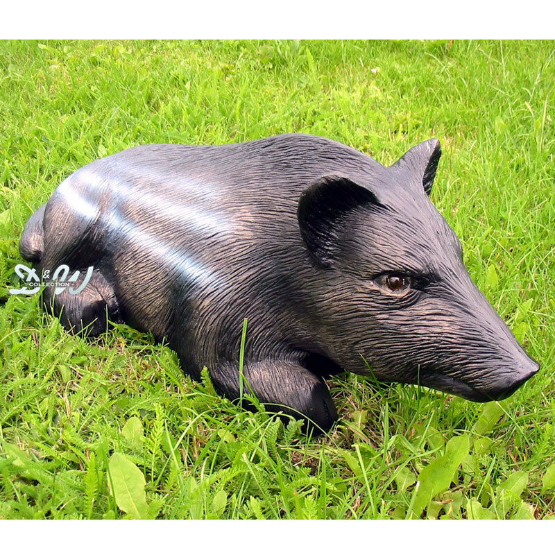 frischling wildschwein liegend lebensgro garten deko tier figur wildtier ferkel ebay. Black Bedroom Furniture Sets. Home Design Ideas