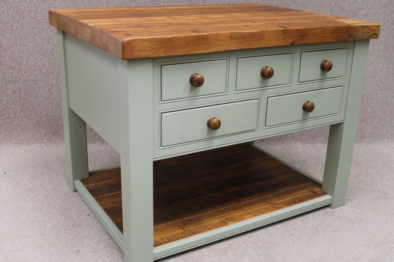 RECLAIMED PINE KITCHEN UNIT KITCHEN ISLAND FARROW BALL PAINTED BASE HAR