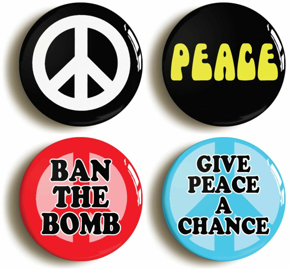 4x peace badges buttons pins size 1inch 25mm diameter. Black Bedroom Furniture Sets. Home Design Ideas