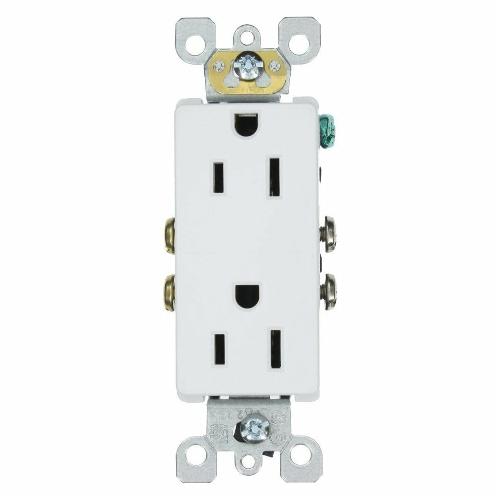leviton 5325 sw decora duplex receptacle with quickwire self grounding white ebay