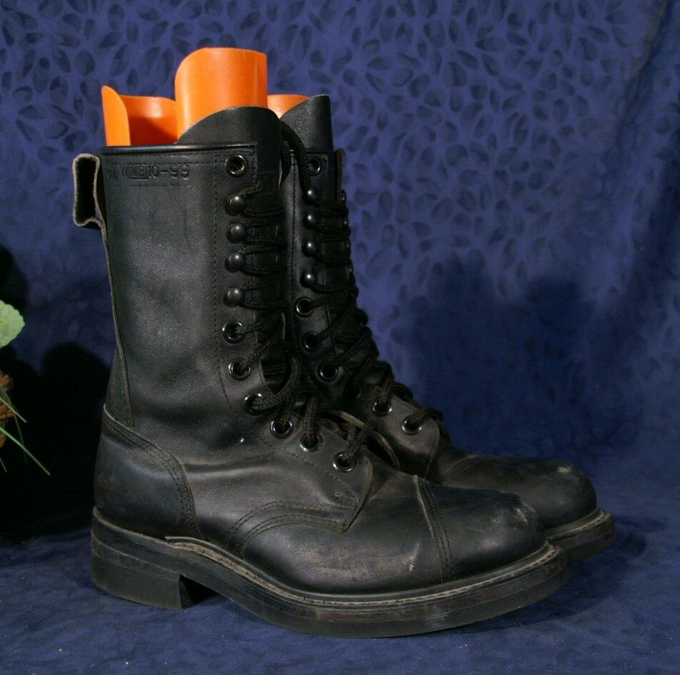 Rugged Black Military Linesman Steel Toed Combat Boots 6
