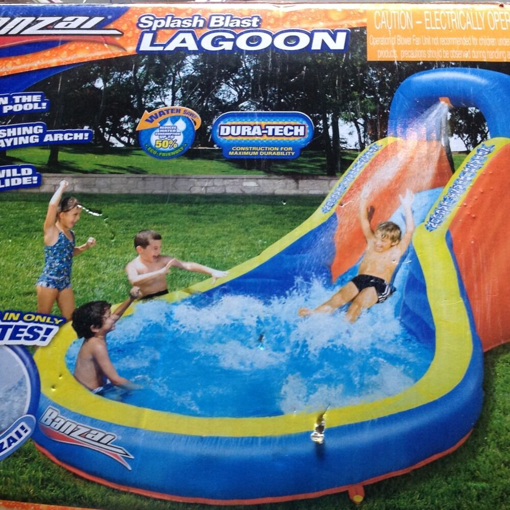 Inflatable Pool Slide Uk: Banzai Splash Blast Lagoon Inflatable Outdoor Water Slide