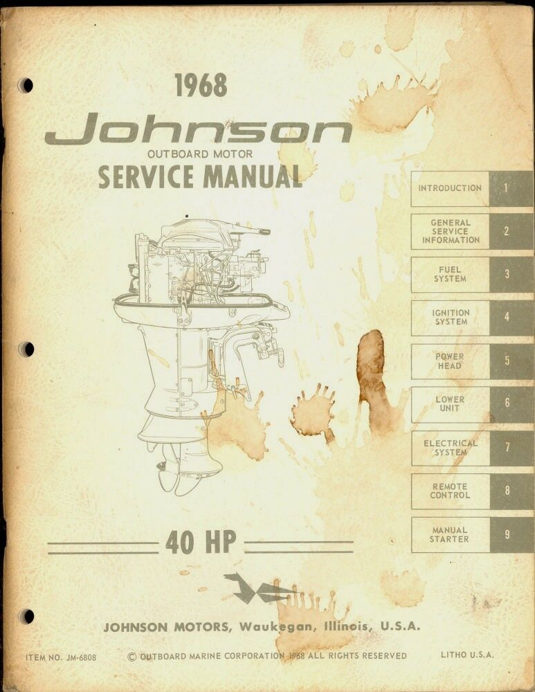 1968 johnson outboard motor 40 hp service manual ebay. Black Bedroom Furniture Sets. Home Design Ideas