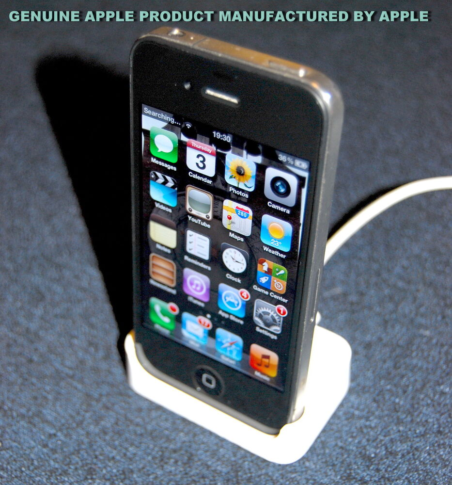 genuine apple iphone 2g 4 4s white desktop charging. Black Bedroom Furniture Sets. Home Design Ideas