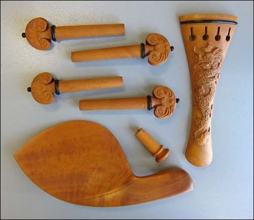 Hand carved boxwood violin fittings pegs chinrest
