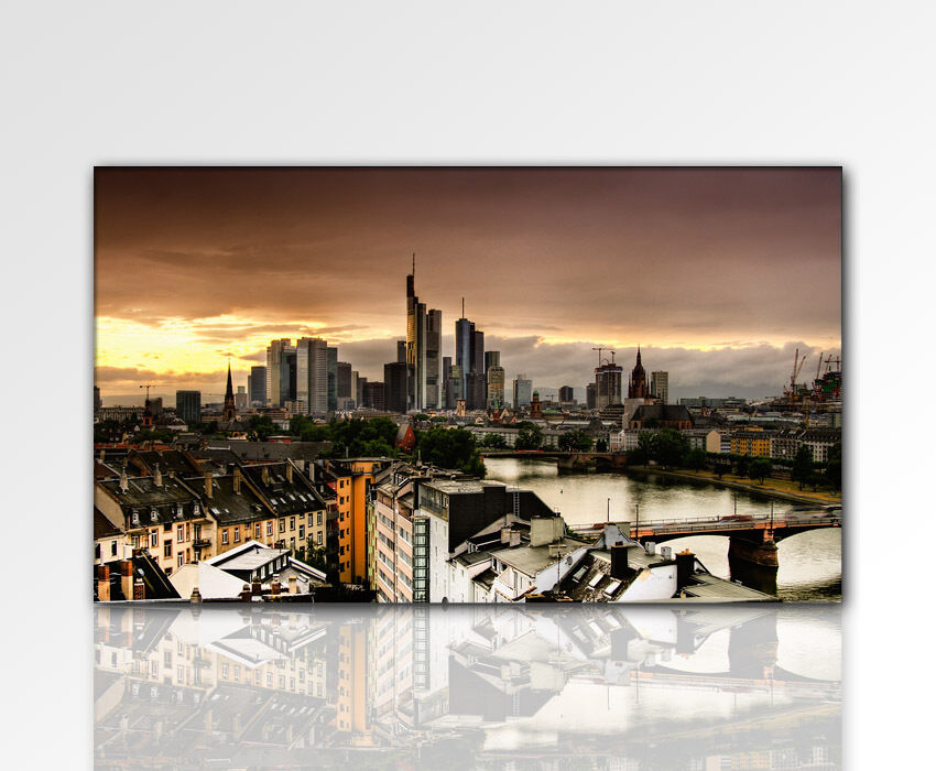 designbilder wandbild city 120x70cm gro frankfurt skyline leinwandbild xxl ebay. Black Bedroom Furniture Sets. Home Design Ideas