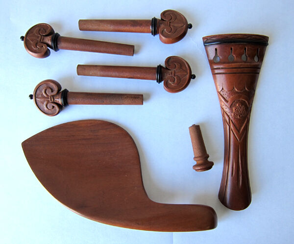 Hand carved jujube violin fittings tailpiec chinrest pegs