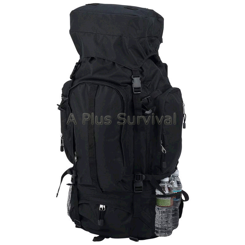 Camping Hiking Backpacking: Black Backpacking Hiking Survival Kit Bug Out Bag Kit