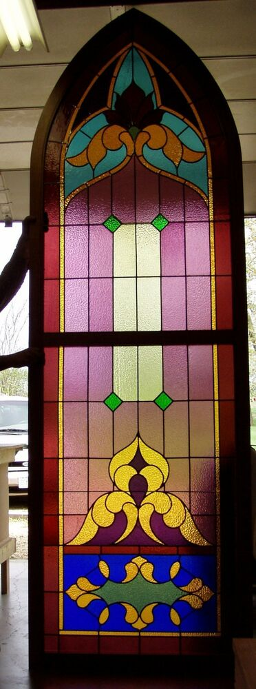 Restored Old Victorian Gothic Leaded Glass Window