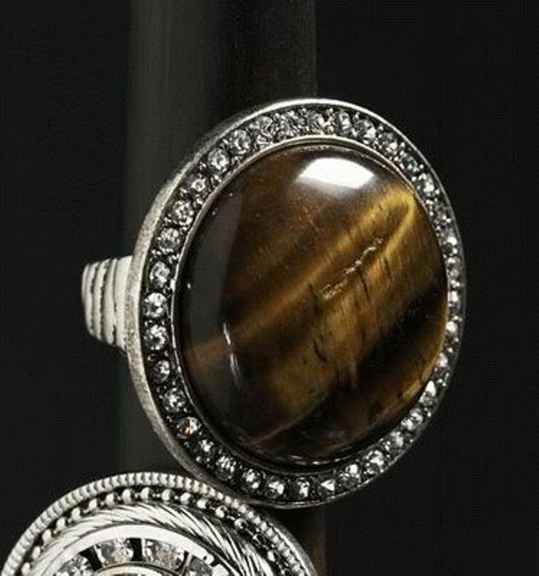 silver tone large brown stretch ring fashion jewelry