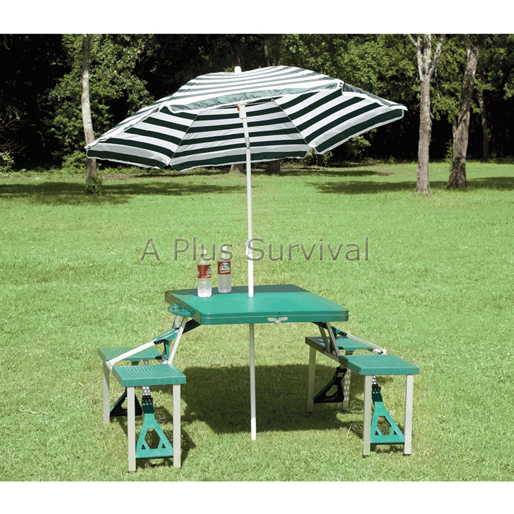 Folding Picnic Table With Umbrella Great For Camping Ebay