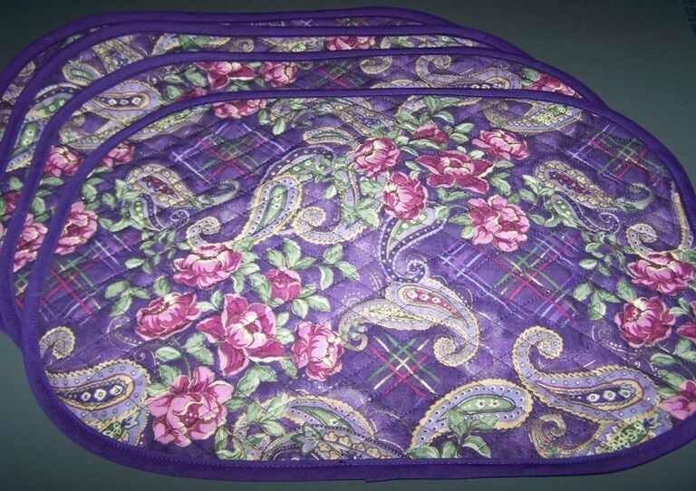 Reversible Purple Paisly Plaid Quilted Fabric Placemats
