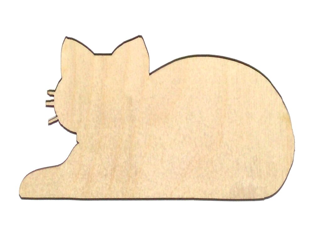 Cat Resting Unfinished Wood Shape Cut Out CR384 Crafts