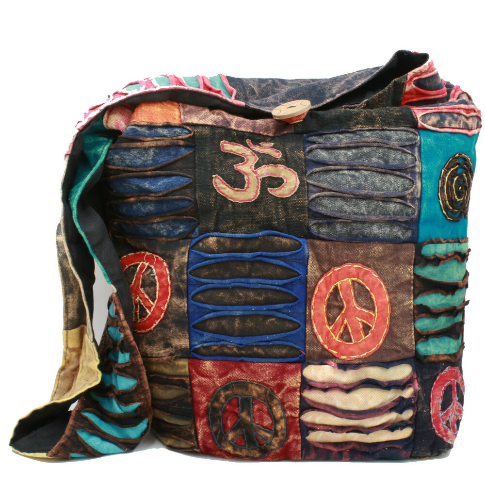 tasche schultertasche stabile peace om patchwork beutel indien hippie goa ebay. Black Bedroom Furniture Sets. Home Design Ideas
