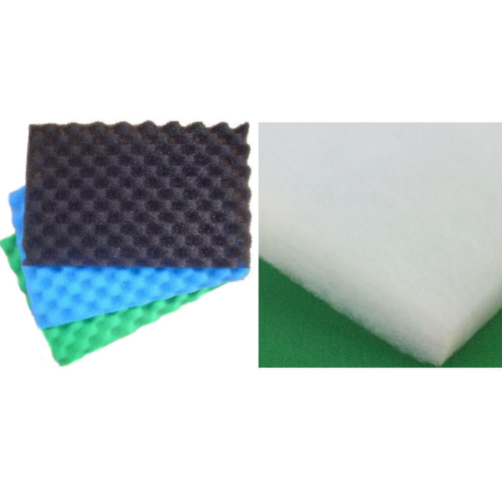 Fish pond filter 3 pk of sponge foam or 1x wadding fleece for Pond filter sponges