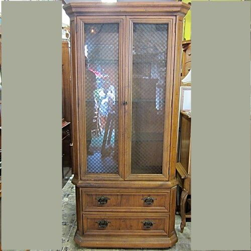 Details About Martinsville Of America Pecan China Cabinet W Two Drawers Vintage 1970 80s