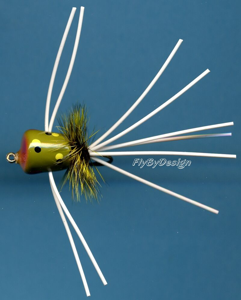 Panfish trout bream fly fishing tan belly frog popper for Fishing hook sizes for trout
