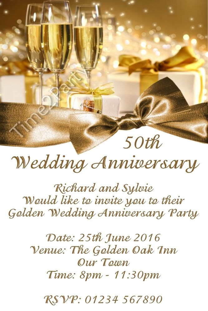 Golden Wedding Anniversary Invitations Wording: Personalised Wedding Anniversary Party Invitations Golden