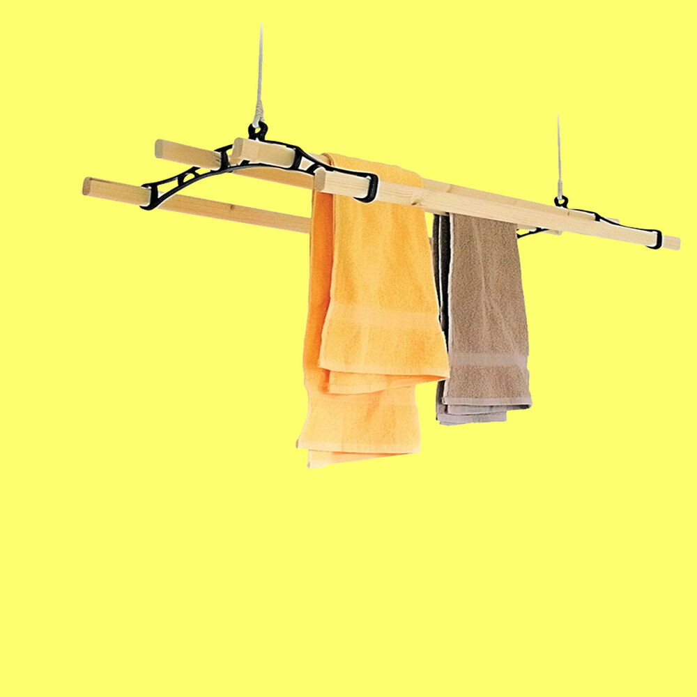 4 lath victorian kitchen ceiling pulley clothes airer maid laundry dryer rack ebay. Black Bedroom Furniture Sets. Home Design Ideas