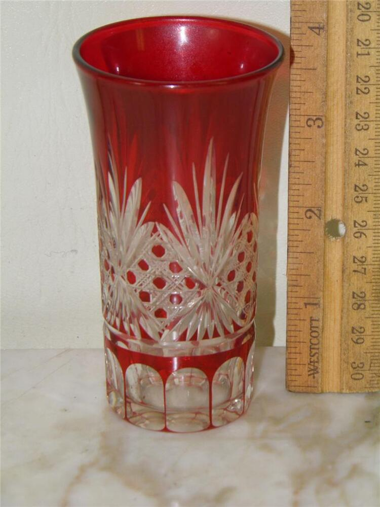 ANTIQUE BOHEMIAN RUBY RED CUT TO CLEAR GLASS 4'' HIGH | eBay