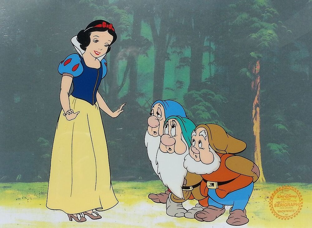 Disney Original Animation Art Cel Snow White, Dwarfs