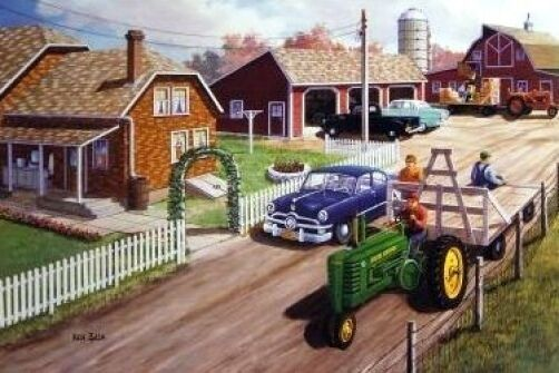 Girly John Deere Paintings : Ken zylla neighborly hands john deere art print quot
