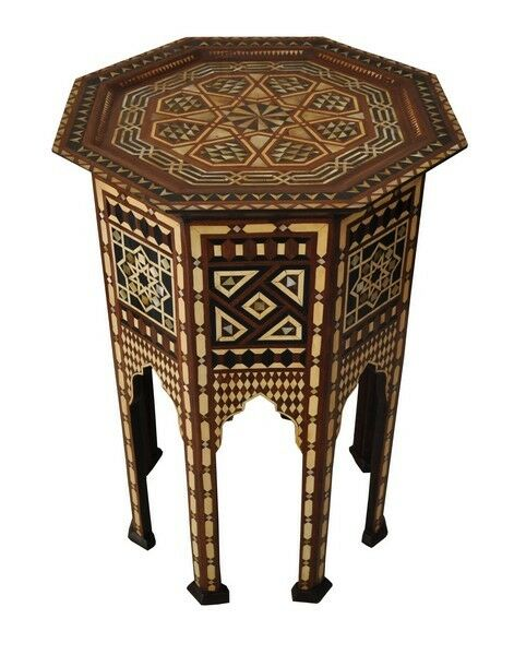 Moroccan 28 Tall Mother Of Pearl Mosaic Wood Coffee Side