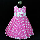 Girl Pinks Polkadot Christmas Wedding Girls Party Dresses SIZE 2,3,4,5,6,7,8,10Y