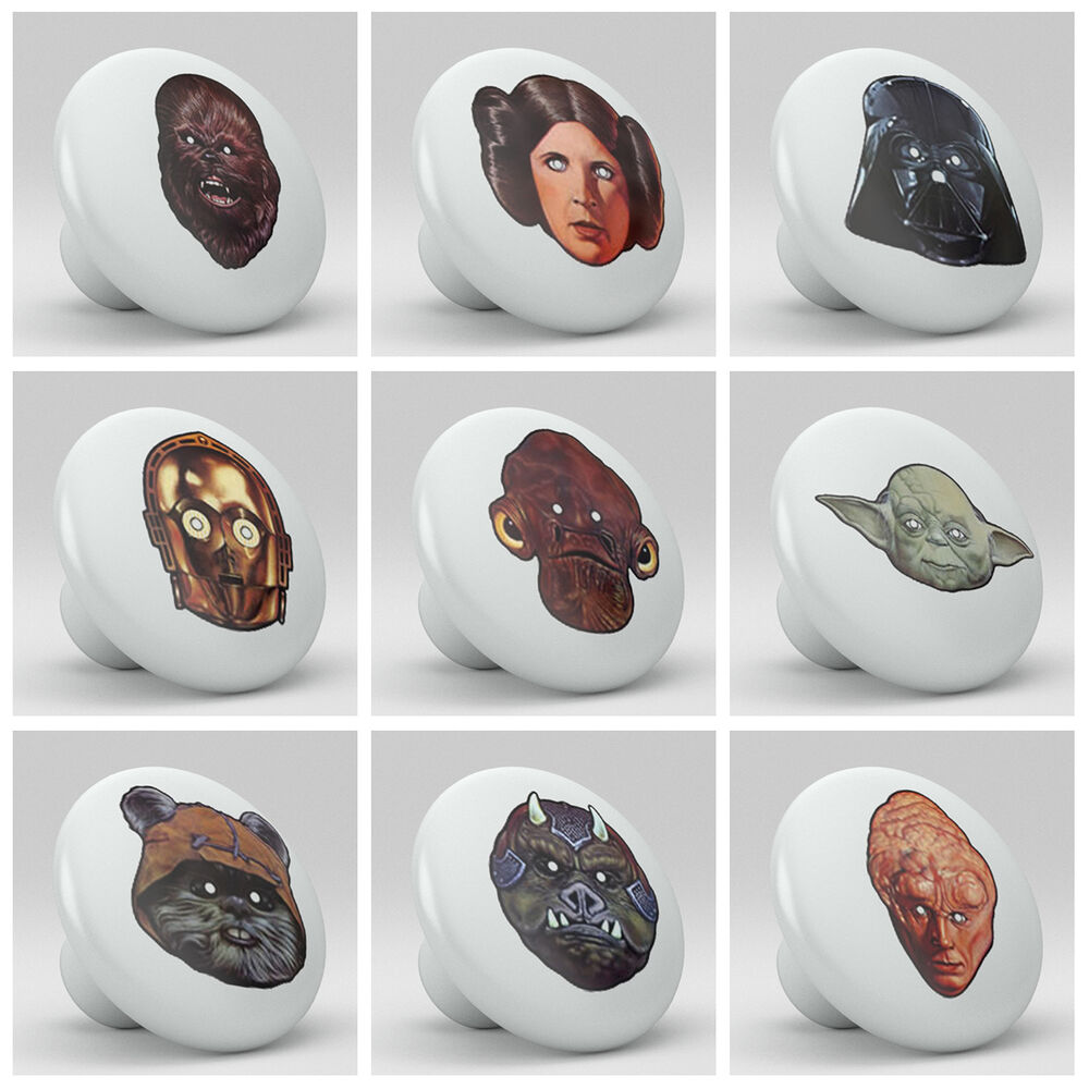 Set Of 9 Star Wars Vintage Vader Ceramic Knobs Pulls Bed