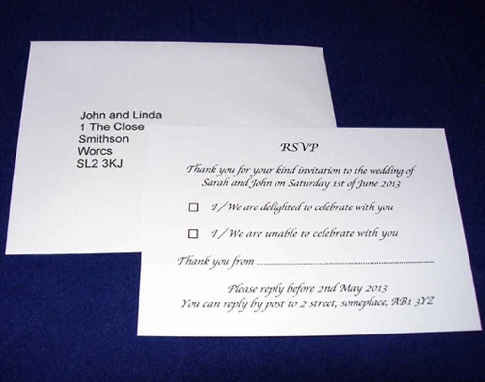 personalised a7 rsvp cards and pre addressed envelopes