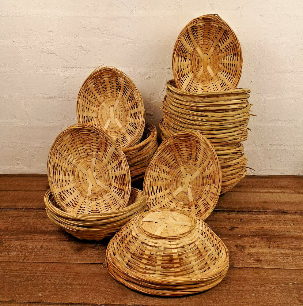 Vintage Oval Natural Bamboo Wicker Bread Basket Storage