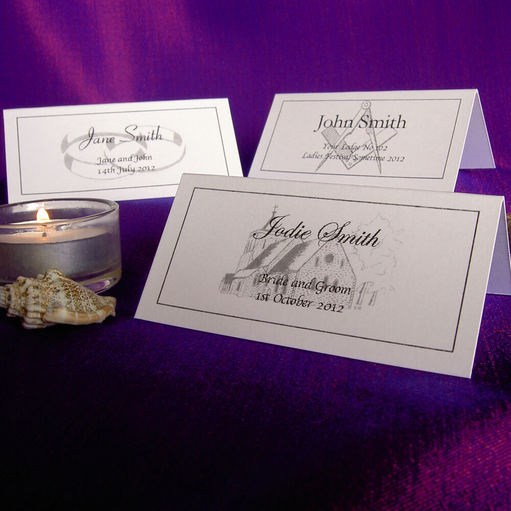 Personalised place cards wedding masonic meal table name for Table place cards